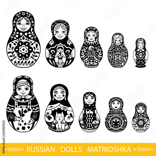 Photo Set of Russian traditional nested dolls (matryoshka).