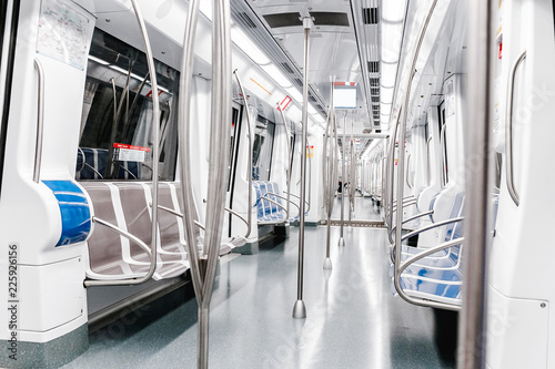 Modern Empty Metro or subway carriage interior