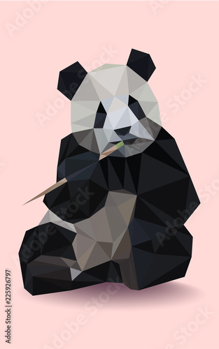 Colorful polygonal style design of wild black and white panda on a pink backgrou Fototapeta