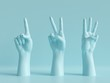 Leinwanddruck Bild - 3d render, female hands isolated, minimal fashion background, mannequin body parts, competition concept, shop display, show, presentation, pink blue pastel colors
