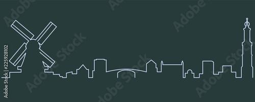 Fototapeta premium Amsterdam Single Line Skyline