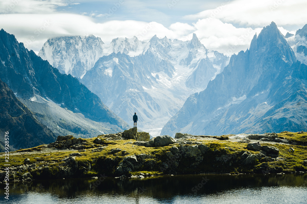 Fototapety, obrazy: Mountainous landscape view on Lac Blanc and Mont-Blanc mountain in Europe, Chamonix France