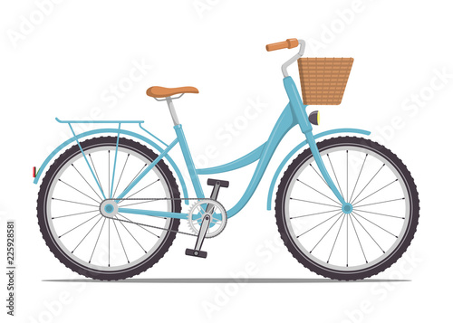 In de dag Fiets Cute women s bike with a low frame and basket in front. Vintage bicycle. Vector illustration in flat style.