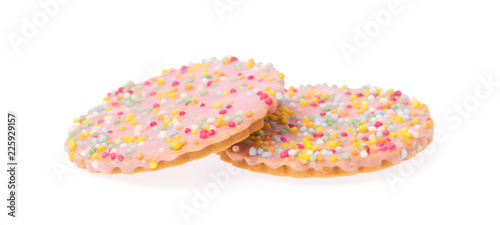 strawberry cookies with topping sprinkle isolated on white background.