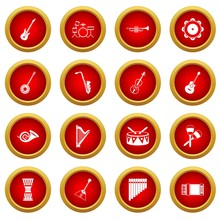 Musical Instruments Icon Red Circle Set Isolated On White Background