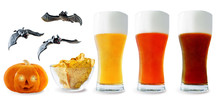 Beer List: Light, Red And Dark Beers With Corn Chips, Pumpkin And Bats Isolated