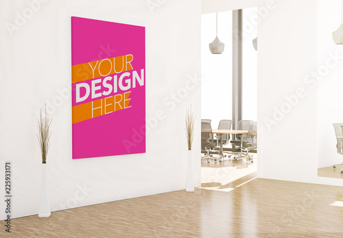 Canvas on Office Wall Mockup  Buy this stock template and