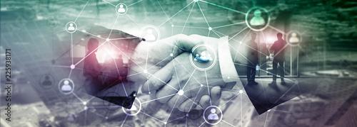 Fototapeta Double exposure people network structureþþ HR - Human resources management and recruitment concept. obraz na płótnie