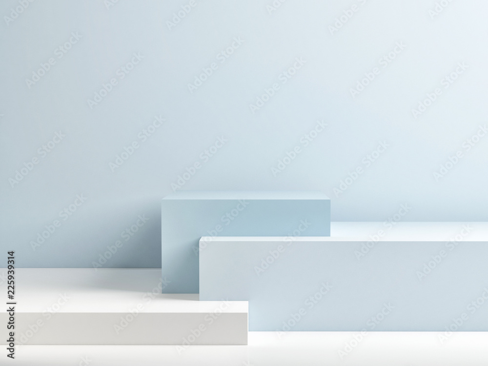 Fototapety, obrazy: Podium in abstract blue composition, 3d render, 3d illustration