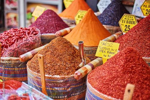 Türaufkleber Aromastoffe Turkey, Spice Bazaar, turkish spices for sale