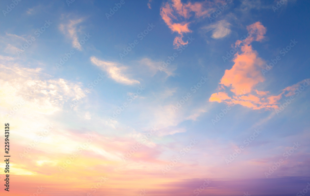 Fototapeta World environment day concept: Sky and clouds autumn sunset background