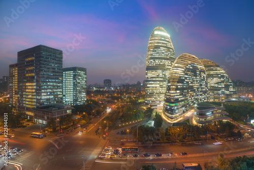 Spoed Foto op Canvas Stad gebouw Beijing cityscape and famous landmark building in WangJing Soho area at night in Beijing, China.