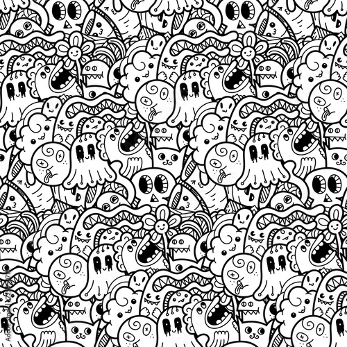 6717146 Funny doodle monsters seamless pattern for prints ...