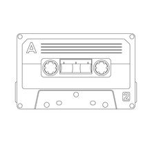 Cassette Tape  Vector Illustration Lining Draw Front