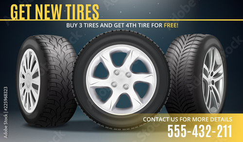Fotomural Tire Advertising Realistic Poster
