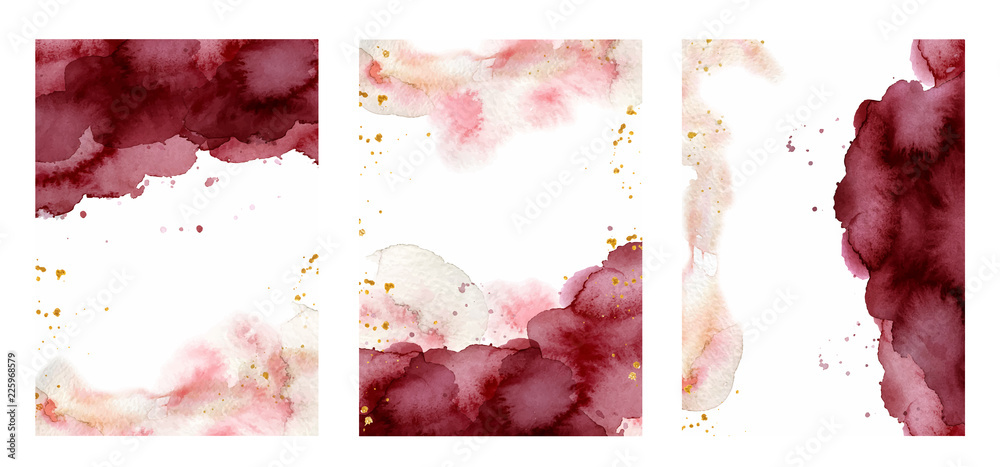 Fototapety, obrazy: Watercolor abstract background, hand drawn watercolour burgundy and gold texture