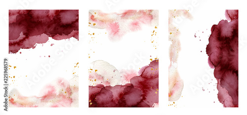 Fotografie, Obraz  Watercolor abstract background, hand drawn watercolour burgundy and gold texture
