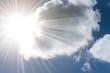 Leinwandbild Motiv Wolken, Sonne und blauer Himmel