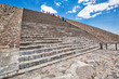 Mexico City, Mexico-21 April, 2018: Tourists climbing landmark Teotihuacan pyramids located close to Mexico City