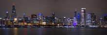 Chicago Skyline Night With Lake