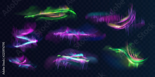 Set of shining, glowing polar or northern lights in atmosphere realistic vector on transparent background. Aurora Borealis natural phenomenon. Collection of colorful neon smeared, blurry abstractions