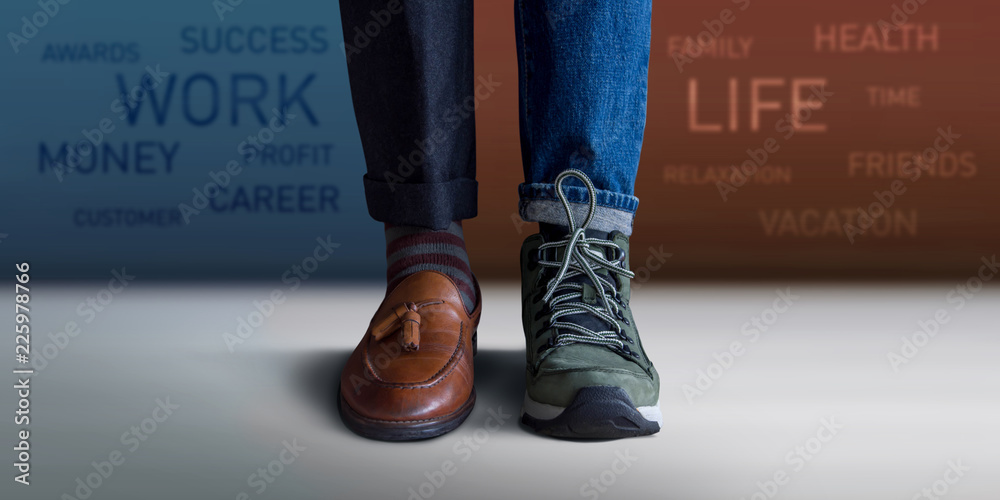 Fototapeta Work Life Balance Concept. Low Section of a Man Standing with Half of Working Shoes and Casual Traveling Shoes, Blurred Text on the Wall as background