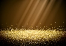 Golden Glitter Background With Abstract Shiny Light Rays In The Darkness