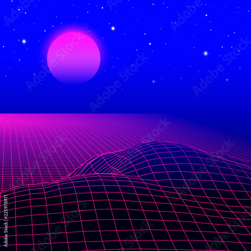 Fototapeta Landscape with wireframe grid of 80s styled retro computer game or science background 3d structure with sun and mountains obraz na płótnie