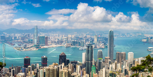 Tuinposter Aziatische Plekken Panoramic view of Hong Kong