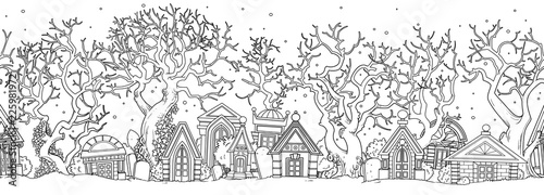 fototapeta na lodówkę Seamless Halloween background with abandoned cemetery with old crypts and trees outlined for coloring page