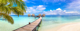 Fototapeta Przestrzenne - Water Villas (Bungalows) in the Maldives