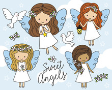 Vector Illustration Of Cute Little Girl Angels In White Dress With Cloud Background And White Doves.
