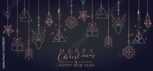 Christmas and New Year background with geometric elements Canvas Print