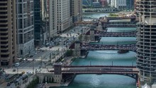 Downtown Chicago River Boat And Traffic Day Timelapse