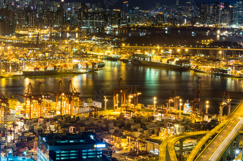 Keuken foto achterwand Poort Hong Kong view with its ports and sea commerce trading