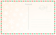 Old Postal Card Template With Winter Snowflakes. Postcard Back Design For Christmas And New Year Greetings.