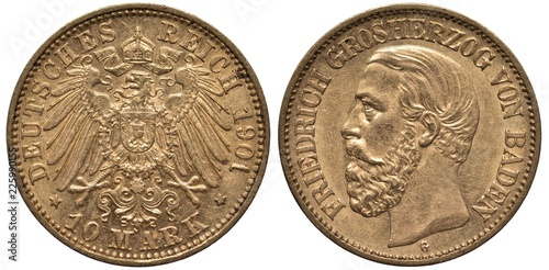 Fotografia  Germany German Baden golden coin 10 ten mark 1901, imperial eagle with shield on