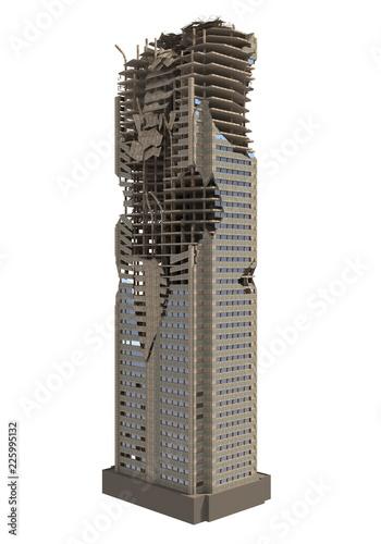Fotomural  Ruined Skyscraper Isolated On White 3D Illustration