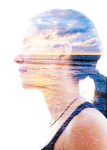 Double Exposure Profile Portrait Of A Young Relaxed Woman With Closed Eyes, Combined Perfectly With A Golden Sunset Beach Horizon