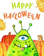 """Cartoon Little Green Monster And Pumpkins With Title """"Happy Halloween"""". Hand Drawn Watercolor Illustration"""