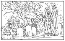 Line Drawing For Coloring Cemetery With Tombs, Halloween Pumpkin, Graves And A Statue Of An Angel With A Book On A White Background
