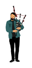 Bagpiper Vector On White Backg...