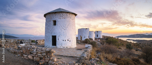 Aluminium Prints Turkey Panorama of Windmills overlooking Bodrum, Turkey