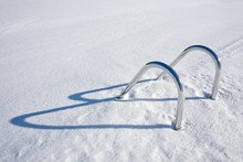 Swimming Pool Hand-rails At Winter, Finland