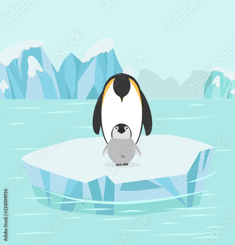 Naklejka premium Penguin and baby in North pole Arctic