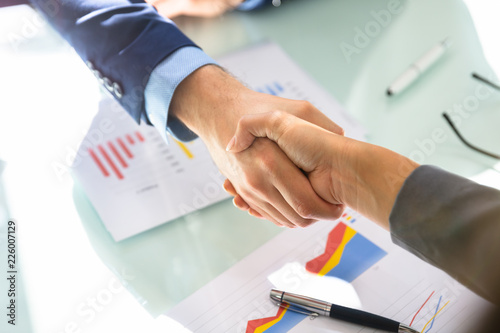 Businessman Shaking Hands With His Partner Canvas-taulu