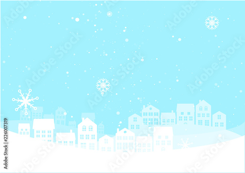 Christmas night landscape with houses. Winter background. For design flyer, banner, poster, invitation