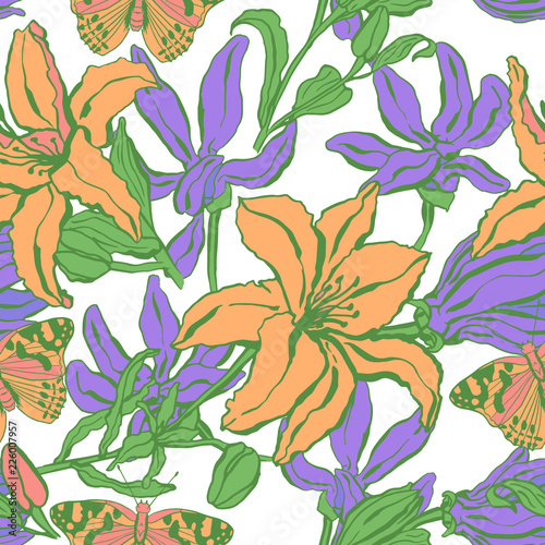 Foto op Canvas Draw Seamless pattern with lilium, ylang, roses, carnation flowers. Colorful vector illustration. Print for home textile and clothes, fabric, textile