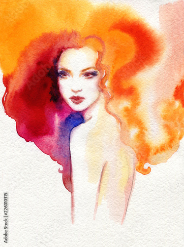 Fotobehang Aquarel Gezicht beautiful woman. fashion illustration. watercolor painting