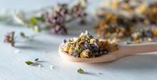 Getrocknete Kräuter Und Blüten Auf Einem Holzlöffel-Homöopathie, Alternative Küche
